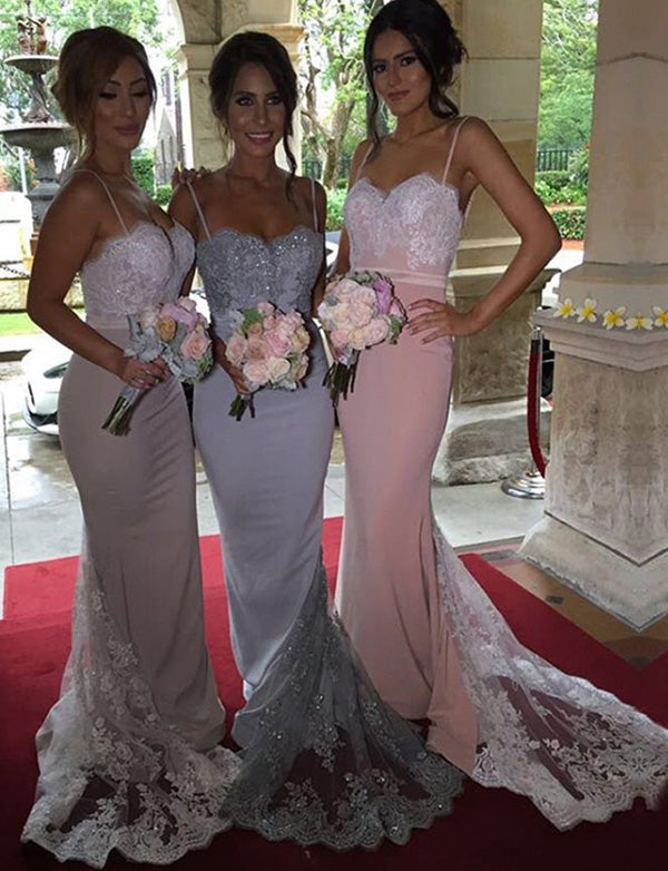 Spaghetti Straps Long Bridesmaid Dress with Lace Beading Mermaid Wedding Party Dress - ericprom