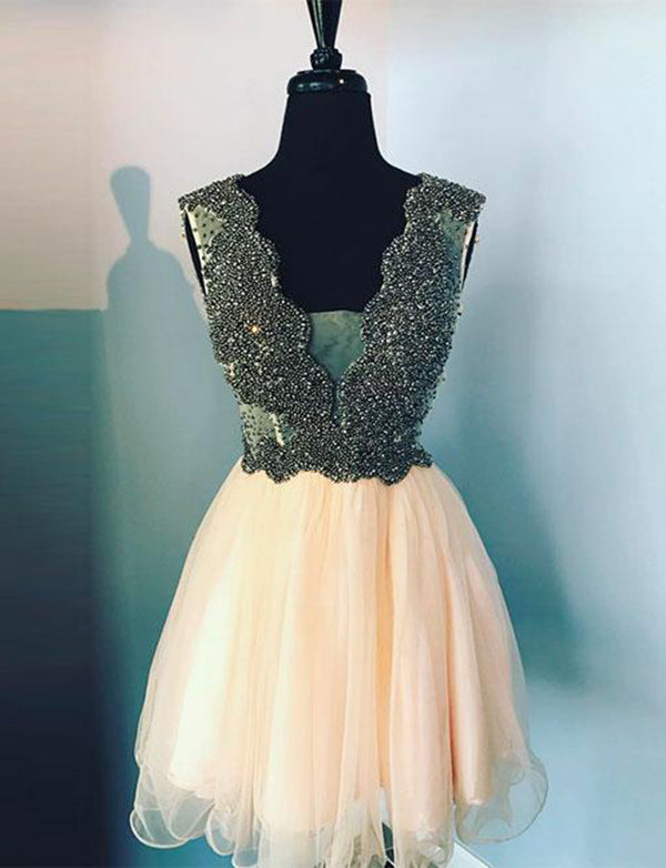 Sexy A Line Deep V Neck Peach Homecoming Dress with Beading Cocktail Dress - ericprom