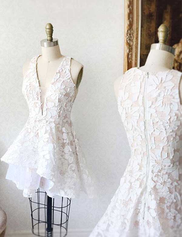 V Neck Sleeveless Lace Homecoming Dress A Line Short White Cocktail Dress - ericprom