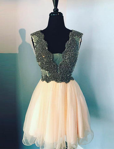 Sexy A Line Deep V Neck Peach Homecoming Dress with Beading Cocktail Dress
