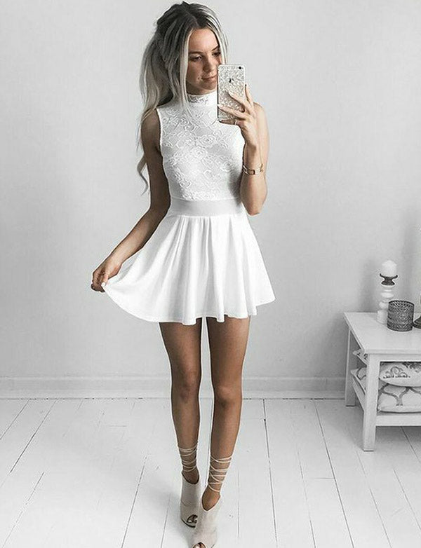 Cheap High Neck White Cocktail Dress Short Homecoming Dress with Lace