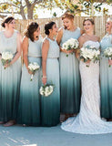 Sparkly Summer Round Neck Chiffon Ombre Long Bridesmaid Dress with Pleats - ericprom