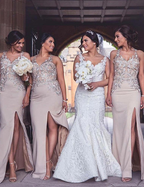 Elegant Sheath V Neck Long Champagne Bridesmaid Dress with Appliques Split - ericprom
