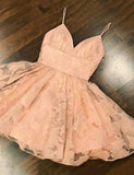 Glamorous Spaghetti Straps A Line Short Homecoming Dress Pink Cocktail Dress - ericprom