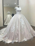 Crew Sweep Train Tulle Appliques Ball Gown Wedding Dress with Cap Sleeves - ericprom