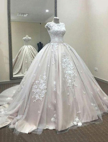 Crew Sweep Train Tulle Appliques Ball Gown Wedding Dress with Cap Sleeves