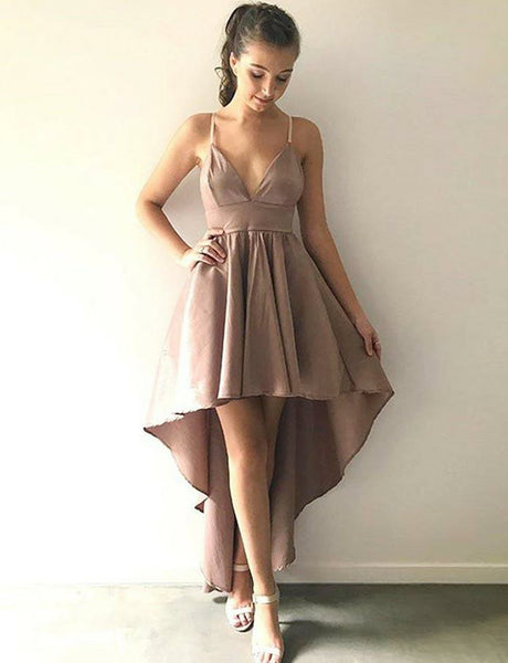 Simple Backless Champagne Prom Dress Spaghetti Straps High Low Homecoming Dress