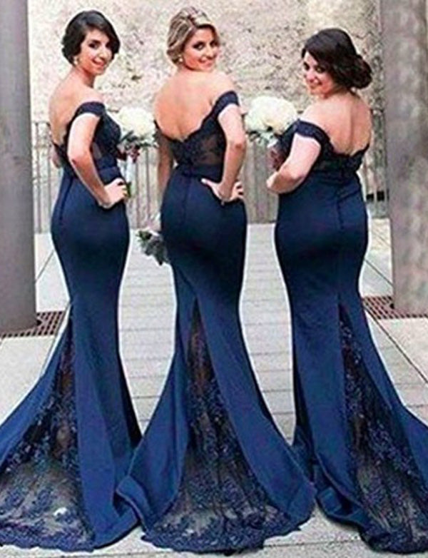 Mermaid Off the Shoulder Long Navy Blue Bridesmaid Dress with Lace Beading - ericprom