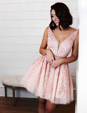 A Line V Neck Short Pink Homecoming Dress with Appliques Beading Cocktail Dress