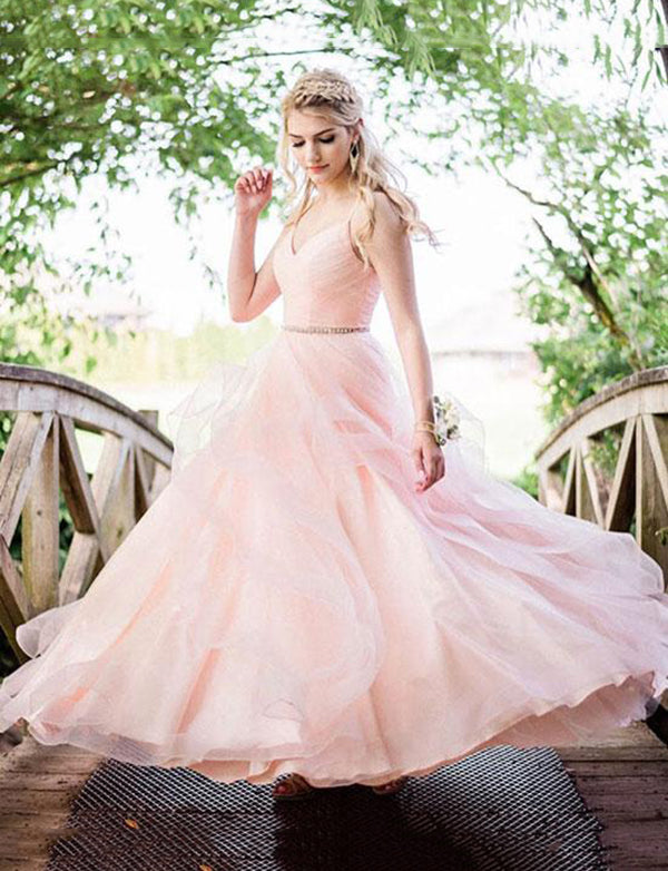 Spaghetti Straps Floor Length Prom Dress with Beading Evening Gown