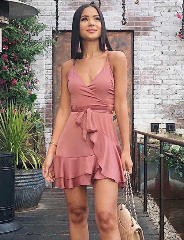 Simple Spaghetti Straps Mini Cocktail Dresses with Belt Pink Homecoming Dress - ericprom