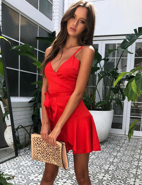 Sexy V-Neck Sleeveless Red Cocktail Dress Short Homecoming Dress with Pleats - ericprom