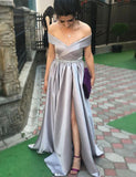 Charming Off the Shoulder Grey Evening Gown with Split Beading Prom Dress - ericprom