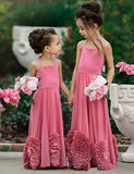 A Line Halter Floor Length Pink Satin Flower Girl Dress with Appliques - ericprom