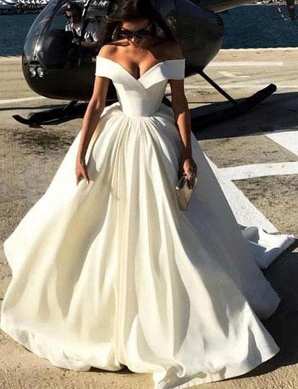 Trendy A Line Off the Shoulder Long Prom Dress Satin White Evening Dress - ericprom