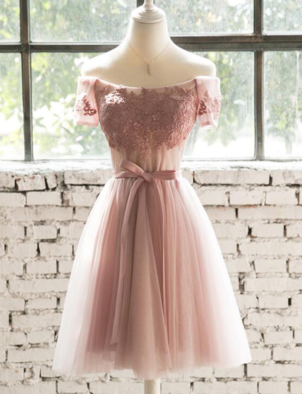 A Line Lace Up Of the- Shoulder Short Pink Homecoming Dress with Appliques - ericprom