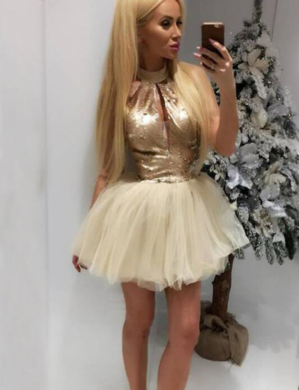 Keyhole Homecoming Dress Champagne Cocktail Dress with Sequins - ericprom