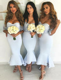 Mermaid Sweetheart Light Blue Bridesmaid Dress with Lace Wedding Party Dress - ericprom