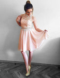 A Line Sleeveless Short Pink Homecoming Dress with Lace Beading Cocktail Dress - ericprom