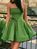 A-line Green Homecoming Satin Dress