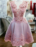 Trendy Short Pink Homecoming Dress with Appliques Beading Cocktail Dress - ericprom