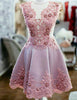 Trendy Short Pink Homecoming Dress with Appliques Beading Cocktail Dress