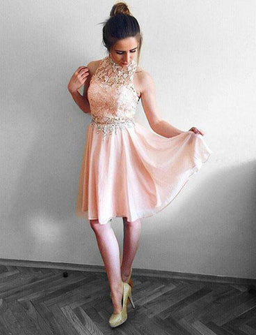 A Line Sleeveless Short Pink Homecoming Dress with Lace Beading Cocktail Dress
