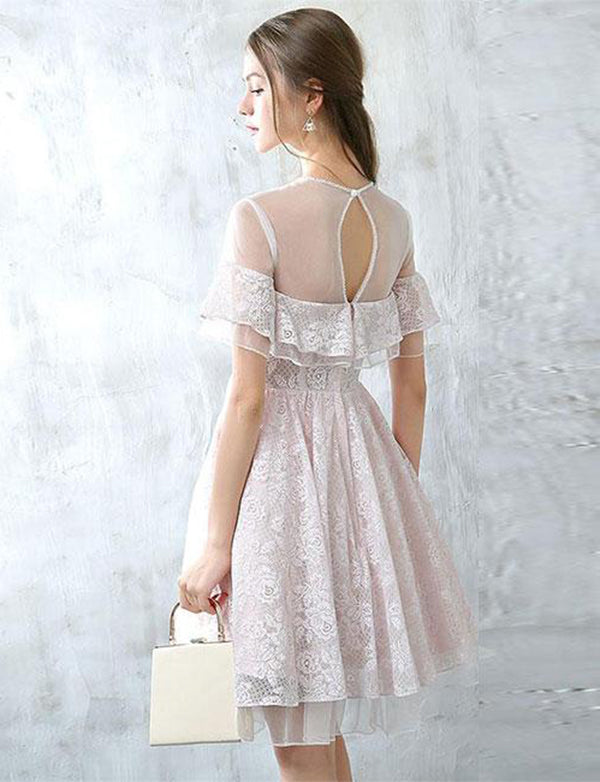 Simple A-Line Short Sleeves Round Neck White Tulle Homecoming Dress with Lace - ericprom