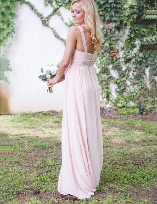 Classy Sleeveless One Shoulder Chiffon Long Pink Bridesmaid Dress with Ruched - ericprom