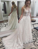 Crew Sweep Train White Tulle Sleeveless A Line Wedding Dress with Appliques - ericprom