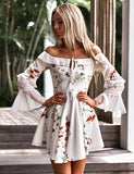 Off the Shoulder Cocktail Dress Chiffon White Homecoming Dress with Print - ericprom