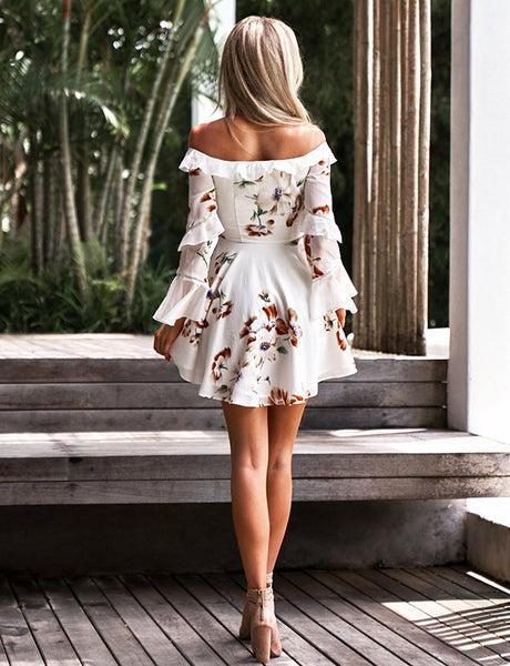 Off the Shoulder Cocktail Dress Chiffon White Homecoming Dress with Print