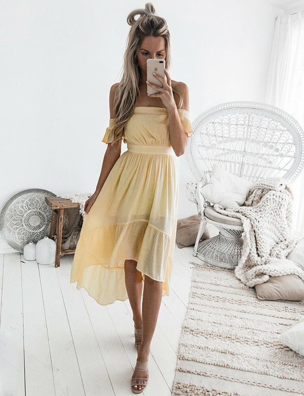 Simple A-Line Off-the-Shoulder Yellow Chiffon High Low Homecoming Dress - ericprom