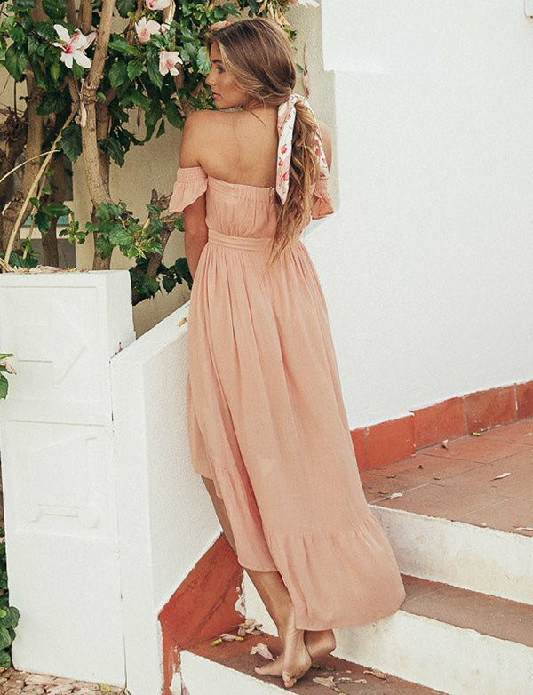 Cute A-Line Off-the-Shoulder Pink  Prom Dress High Low Homecoming Dress - ericprom