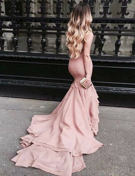 Elegant Mermaid Prom Dress Straight Across Pink Evening Gown with Ruffles