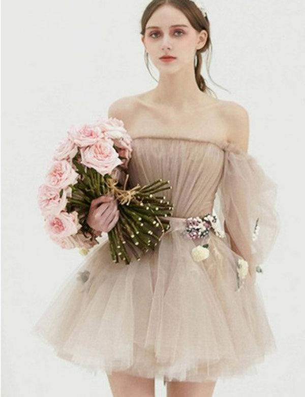 Chic Off the Shoulder Tulle Light Grey Short Bridesmaid Dresses with Appliques - ericprom
