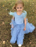 A Line Jewel Sweep Train Blue Tulle Flower Girl Dress with Tiered Tassel - ericprom