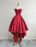 Classy Sweetheart Red Prom Dress Satin Sleeveless High Low Homecoming Dress
