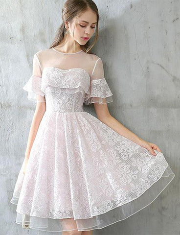 Simple A-Line Short Sleeves Round Neck White Tulle Homecoming Dress with Lace