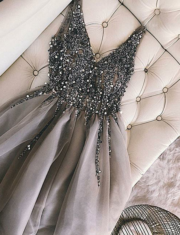 Stunning V-Neck Short Homecoming Dress with Beading Sequin Prom Dress - ericprom