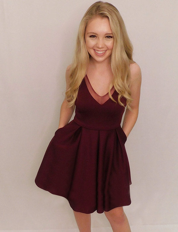Simple V Neck Sleeveless Burgundy Homecoming Dress Short Cocktail Dress - ericprom