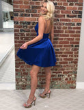 Simple Royal Blue Cocktail Dress Satin Short Homecoming Dress