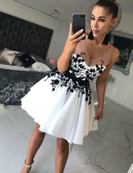 A Line V Neck White Satin Short Homecoming Dresses with Black Appliques