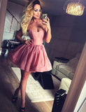 Simple Sweetheart Cocktail Dress Sleeveless  A Line Short Pink Homecoming Dress - ericprom