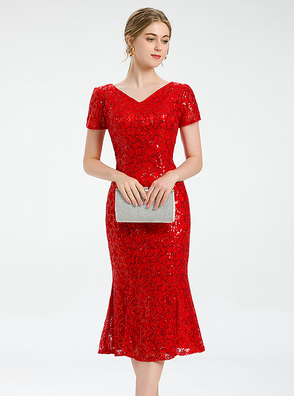 Mermaid Red Cocktail Dress Lace Dress