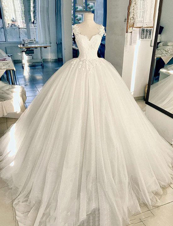 Elegant Straps White Tulle Floor Length Ball Gown Wedding Dress with Appliques - ericprom