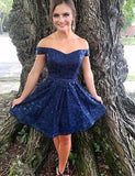 Fashion A Line Off The Shoulder Navy Blue Short Homecoming Dress - ericprom