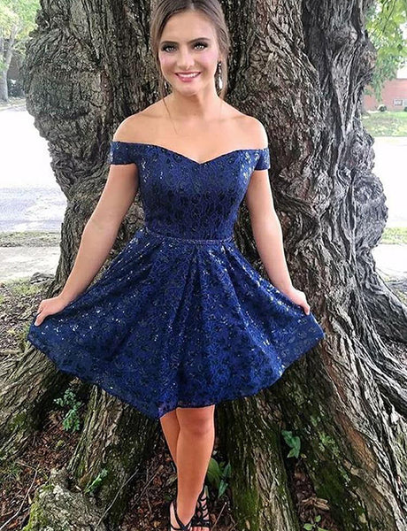 Fashion A Line Off The Shoulder Navy Blue Short Homecoming Dress