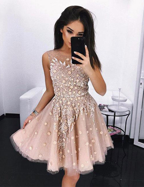 Jewel Short Blush Homecoming Dress Tulle with Appliques Cocktail Dress - ericprom