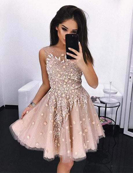 Jewel Short Blush Homecoming Dress Tulle with Appliques Cocktail Dress